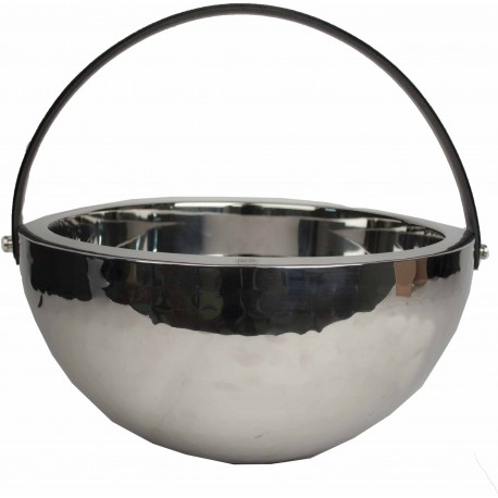 CHAMPAGNE BOWL DOUBLE WALL W. BLACK LEATHER HANDLE
