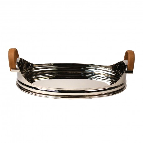 TRAY OVAL WITH LEATHER HANDLE