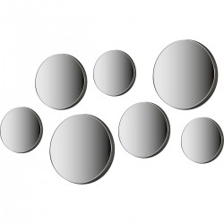 MIRROR SET WOOD, 7 PIECES