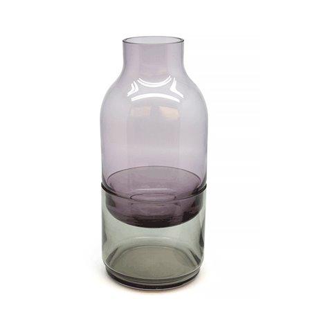 VASE GLASS WITH GREY BOTTOM