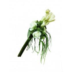 Букет из белых роз и тюльпанов в стеклянной вазе VG (Италия)