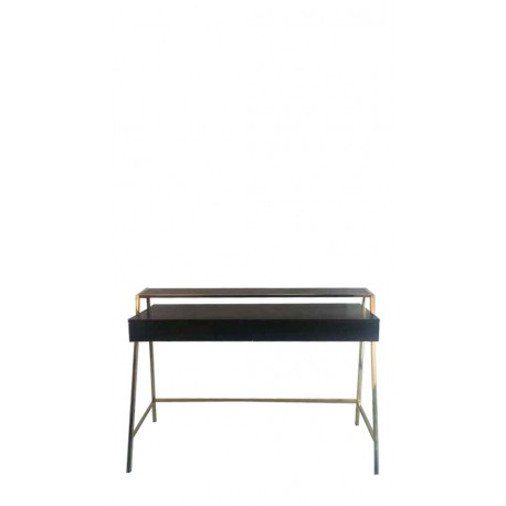 viona desk with gold finish&glass