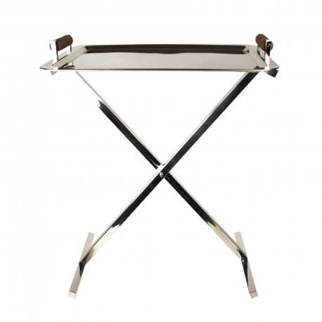 SERVING TRAY WITH TEAK HANDLE + STAND
