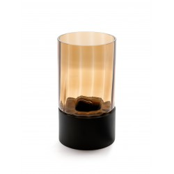 TEALIGHT GLASS WITH BLACK WOODEN BOTTOM
