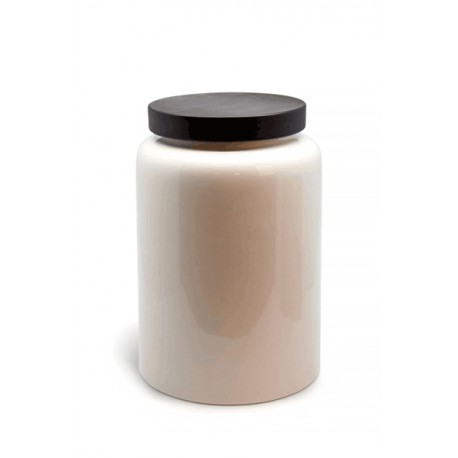Pot with dark brown wooden cover S