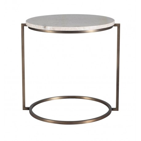 HALO END TABLE WITH TRAVERTINE TOP