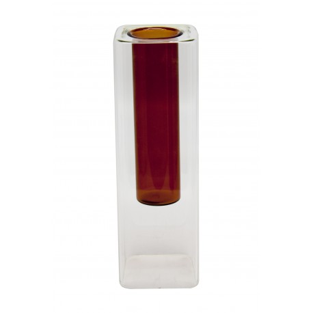 VASE GLASS WITH RUST COLOR INSIDE S