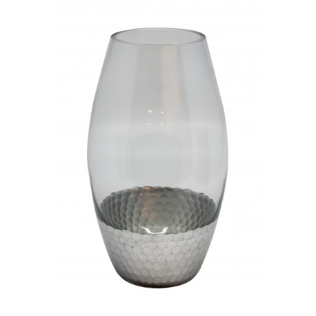VASE GLASS WITH SILVER BASE S