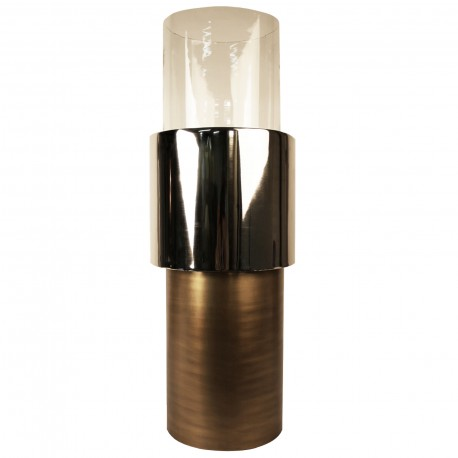 CANDLEHOLDER ALUMINIUM, GLASS S WITH GOLD