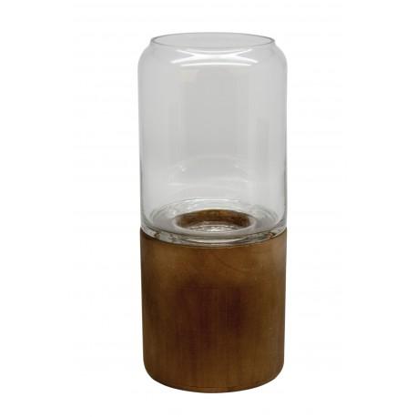 TEALIGHT GLASS WITH PALOWNIA BASE S