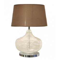TABLELAMP GLASS WITH BROWN SHADE