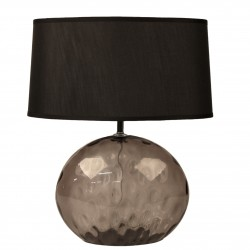 TABLELAMP GREY GLASS WITH OVAL SHADE